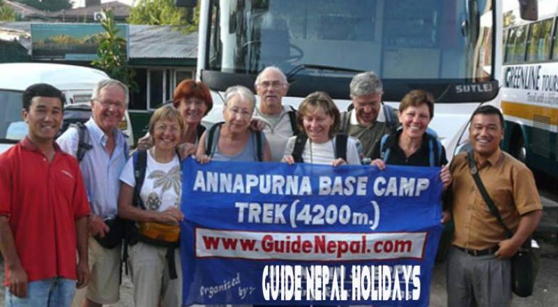 Group of 12 trekkers from France for Annapurna base camp trek